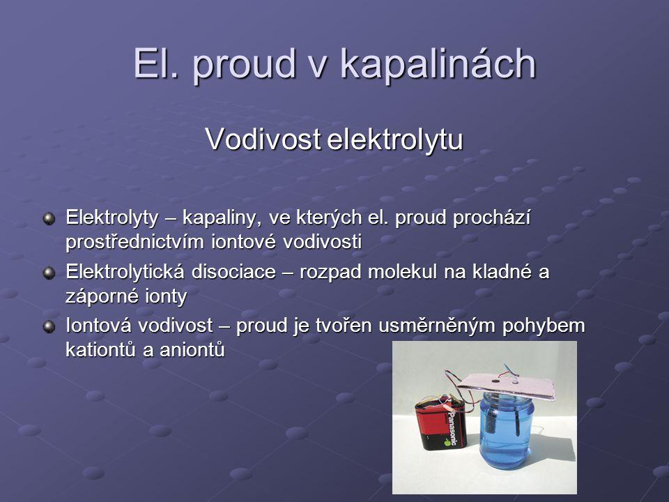 El. proud v kapalinách Vodivost elektrolytu