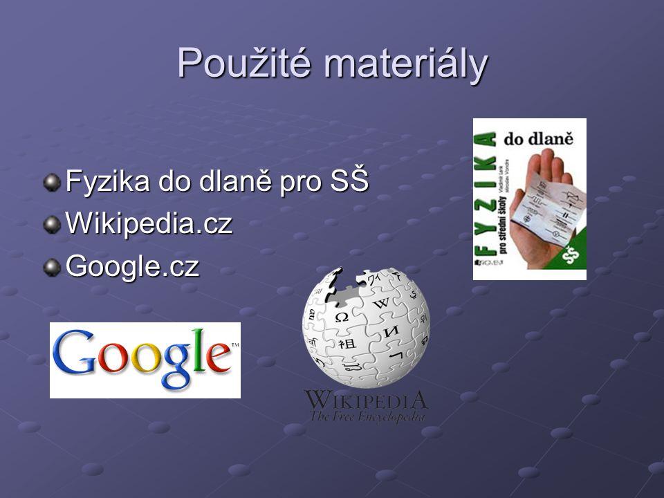 Použité materiály Fyzika do dlaně pro SŠ Wikipedia.cz Google.cz
