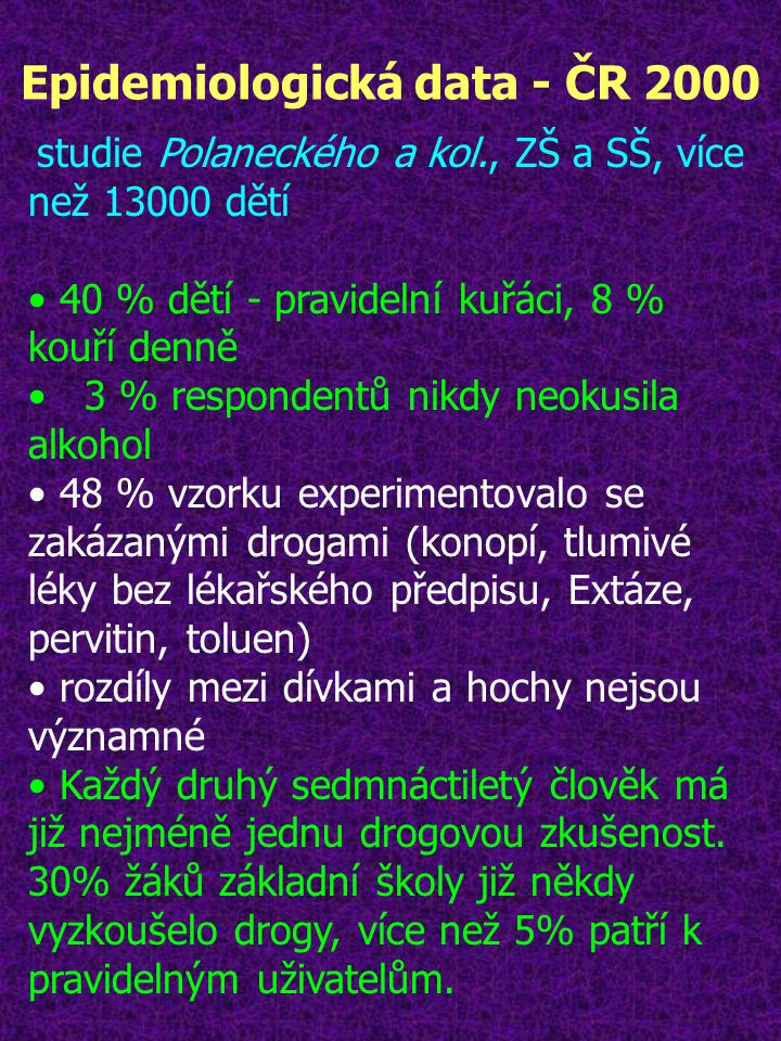 Epidemiologická data - ČR 2000