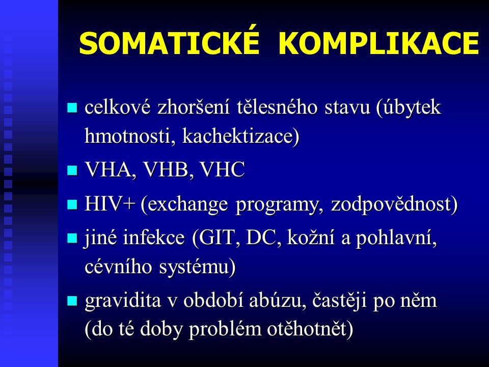 SOMATICKÉ KOMPLIKACE celkové zhoršení tělesného stavu (úbytek hmotnosti, kachektizace) VHA, VHB, VHC.