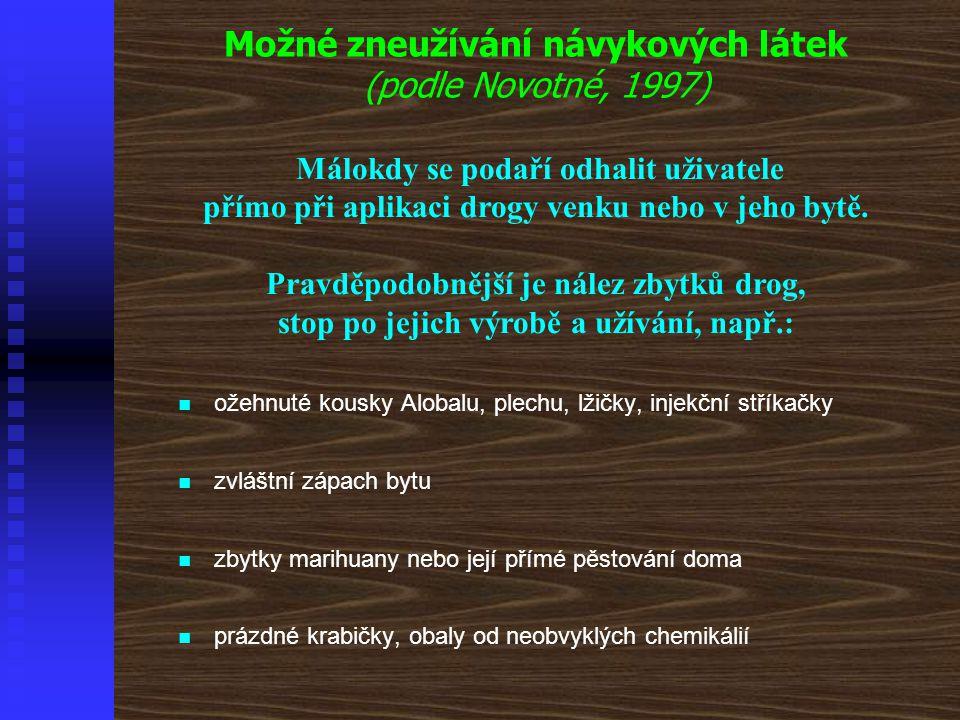 Možné zneužívání návykových látek (podle Novotné, 1997)
