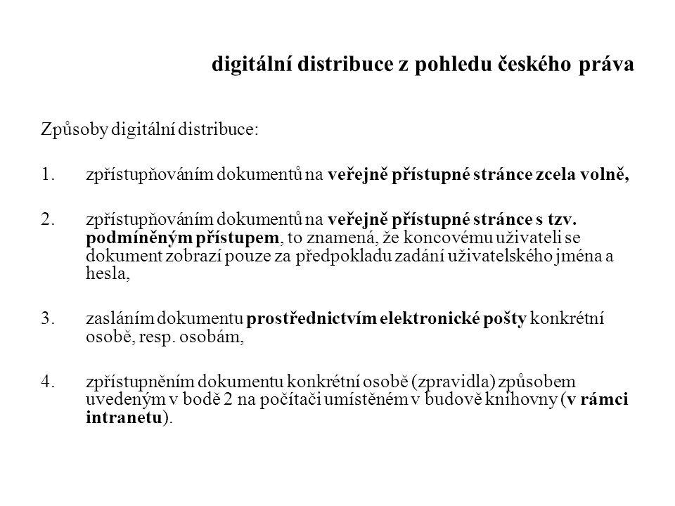 digitální distribuce z pohledu českého práva