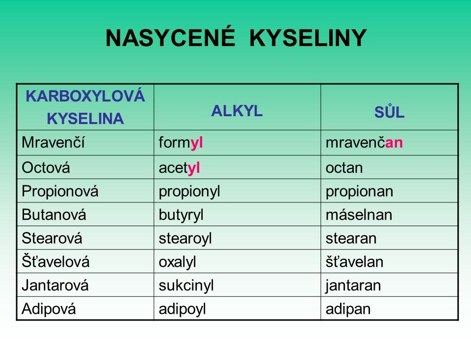 NASYCENÉ KYSELINY KARBOXYLOVÁ KYSELINA ALKYL SŮL Mravenčí formyl