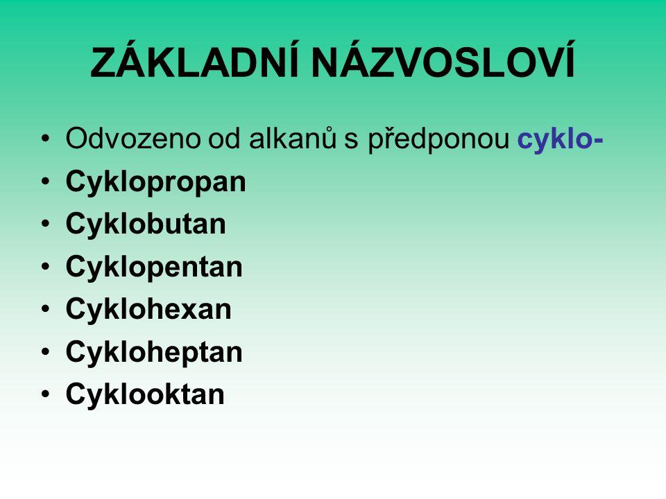 ZÁKLADNÍ NÁZVOSLOVÍ Odvozeno od alkanů s předponou cyklo- Cyklopropan