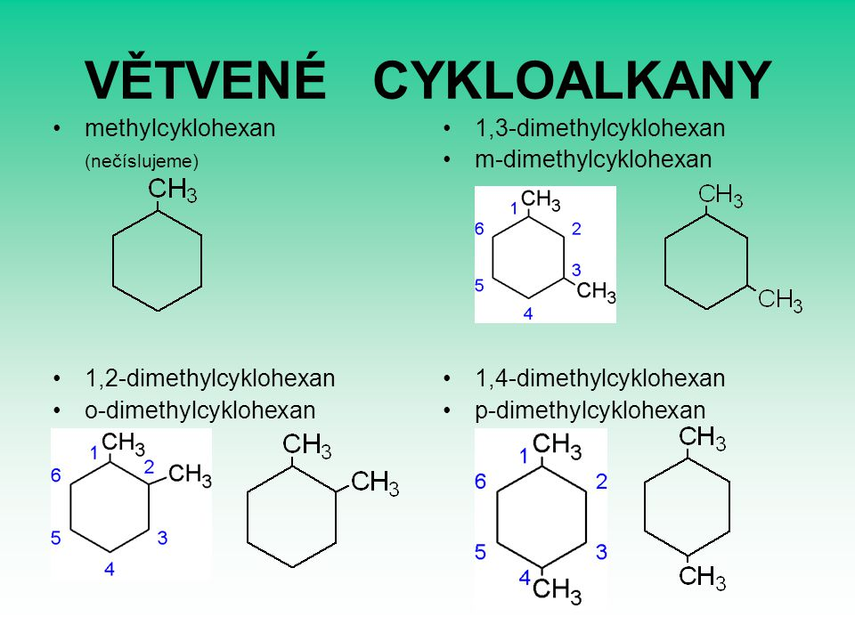VĚTVENÉ CYKLOALKANY methylcyklohexan (nečíslujeme)