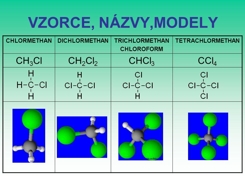 VZORCE, NÁZVY,MODELY CH3Cl CH2Cl2 CHCl3 CCl4 CHLORMETHAN DICHLORMETHAN