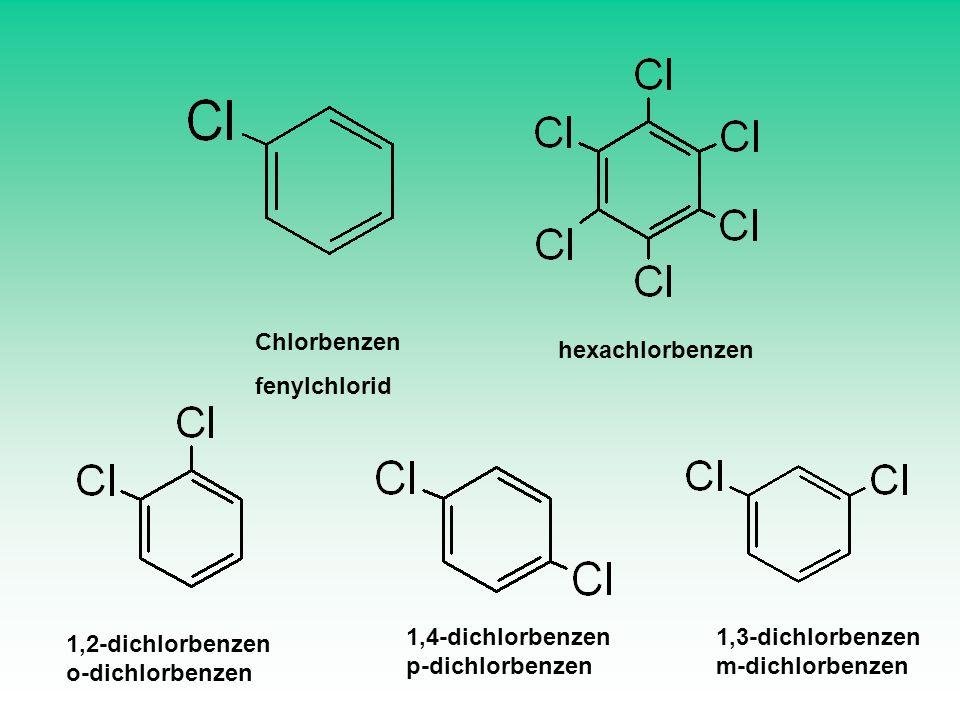 Chlorbenzen fenylchlorid. hexachlorbenzen. 1,4-dichlorbenzen. p-dichlorbenzen. 1,3-dichlorbenzen.