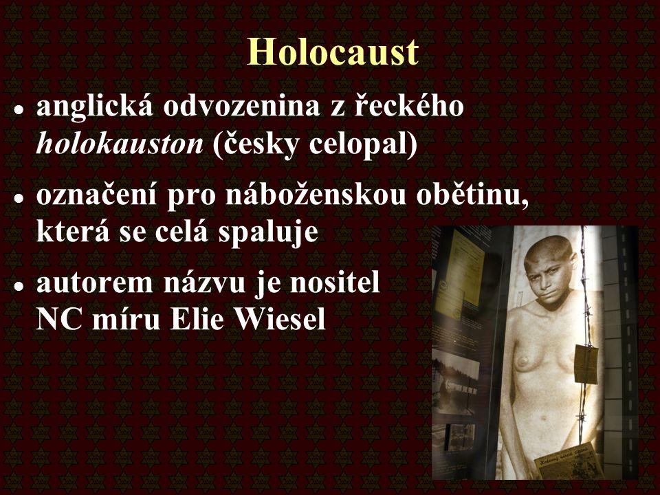 Holocaust anglická odvozenina z řeckého holokauston (česky celopal)