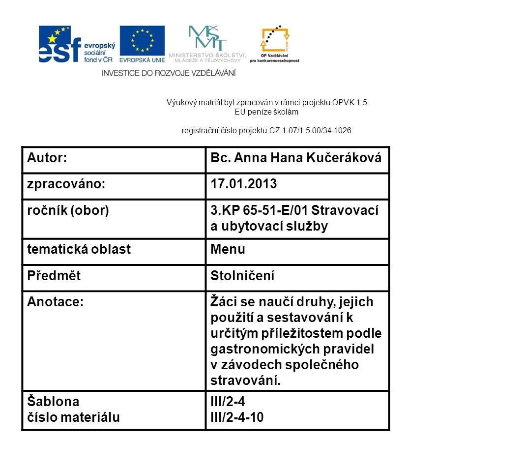 Bc. Anna Hana Kučeráková zpracováno: 17.01.2013 ročník (obor)
