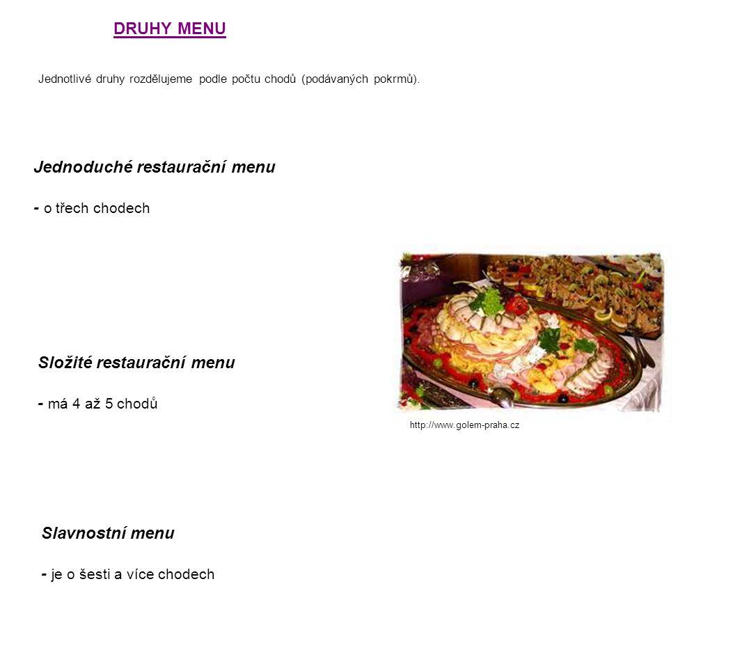 Jednoduché restaurační menu - o třech chodech