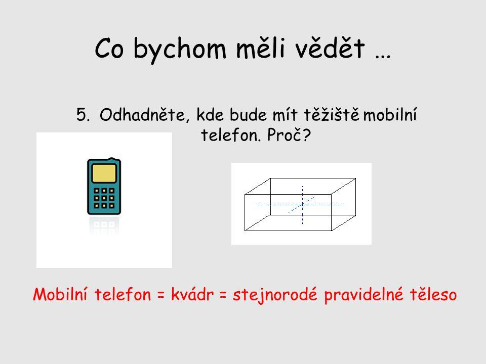 Co bychom měli vědět … Odhadněte, kde bude mít těžiště mobilní telefon.