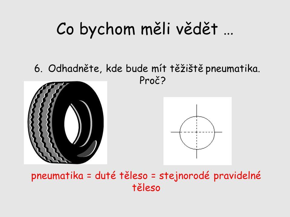 Co bychom měli vědět … Odhadněte, kde bude mít těžiště pneumatika.