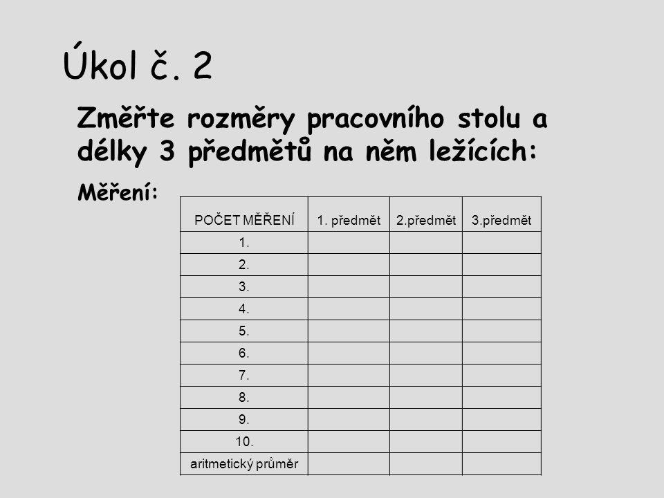Úkol č. 2 Změřte rozměry pracovního stolu a délky 3 předmětů na něm ležících: Měření: POČET MĚŘENÍ.