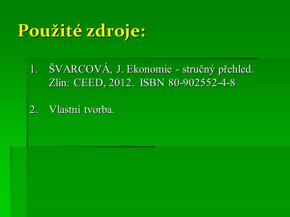 Použité zdroje: ŠVARCOVÁ, J. Ekonomie - stručný přehled.
