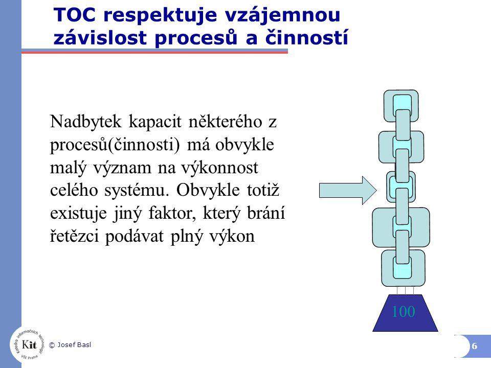 TOC respektuje vzájemnou závislost procesů a činností