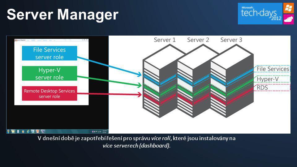 Server Manager V dnešní době je zapotřebí řešení pro správu více rolí, které jsou instalovány na více serverech (dashboard).