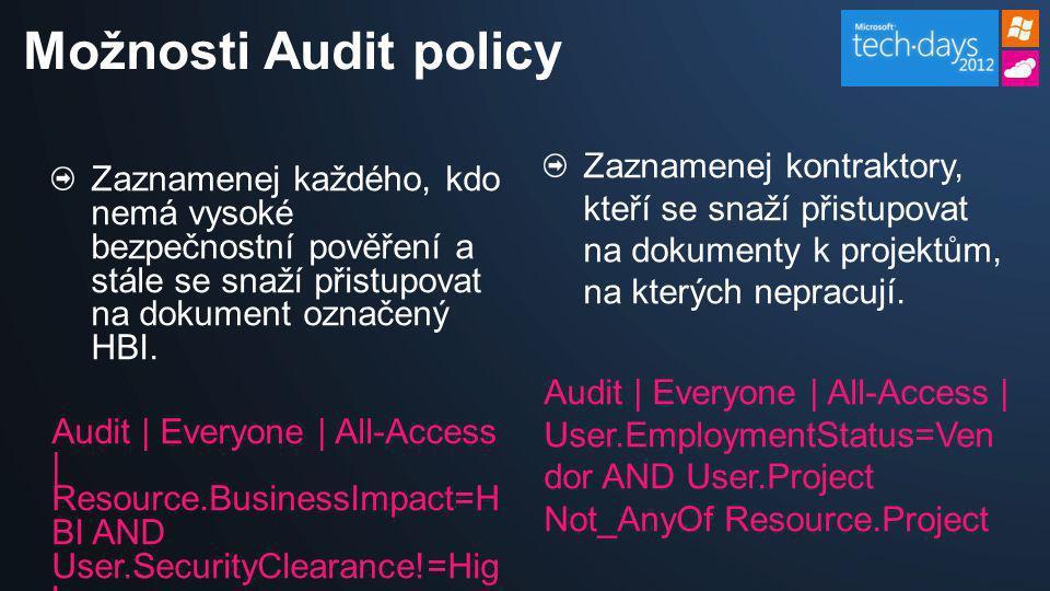 Možnosti Audit policy Zaznamenej kontraktory, kteří se snaží přistupovat na dokumenty k projektům, na kterých nepracují.