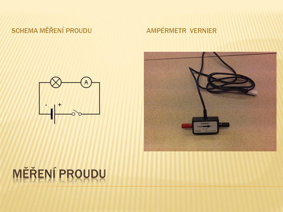 Schema měření proudu Ampérmetr VErnier Měření proudu