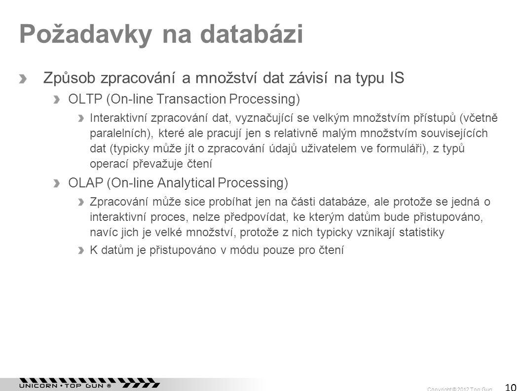 Požadavky na databázi Způsob zpracování a množství dat závisí na typu IS. OLTP (On-line Transaction Processing)