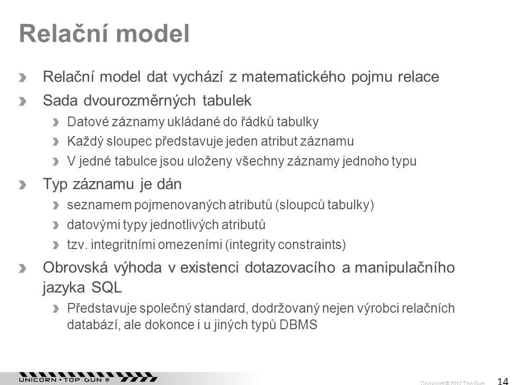 Relační model Relační model dat vychází z matematického pojmu relace