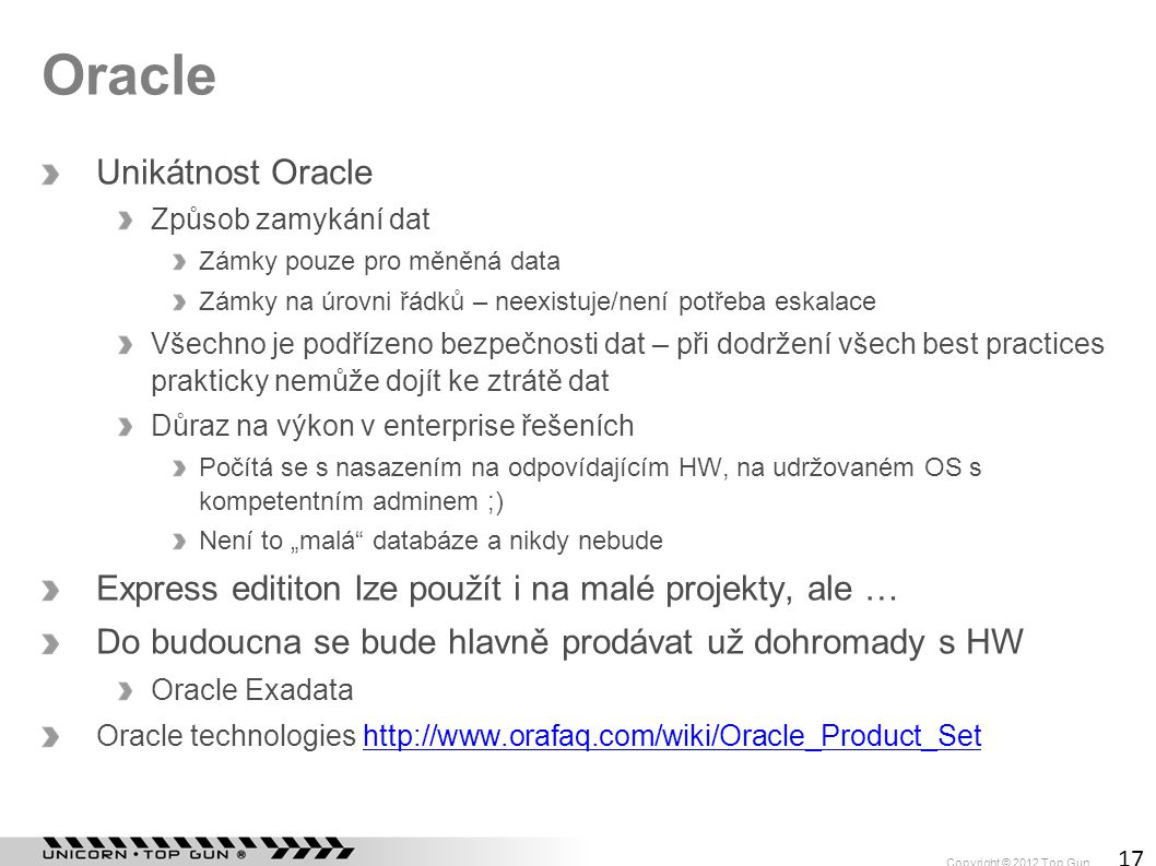 Oracle Unikátnost Oracle