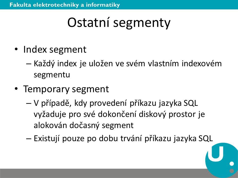 Ostatní segmenty Index segment Temporary segment