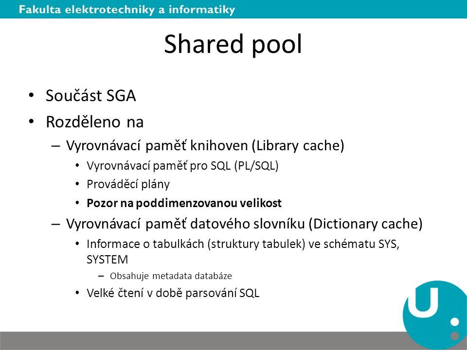 Shared pool Součást SGA Rozděleno na
