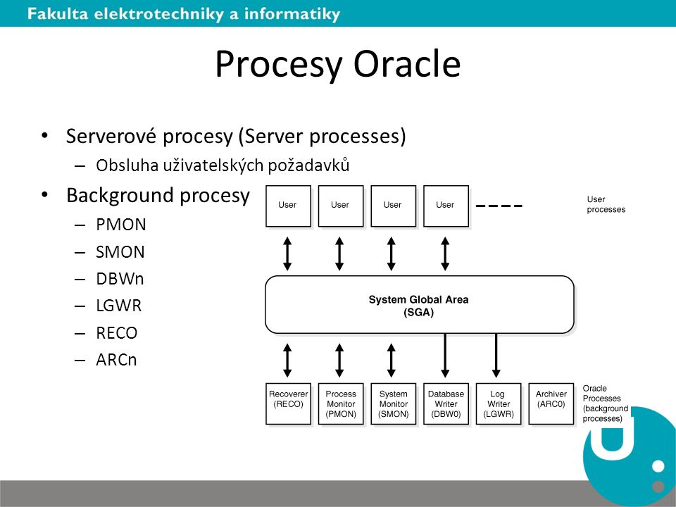 Procesy Oracle Serverové procesy (Server processes) Background procesy