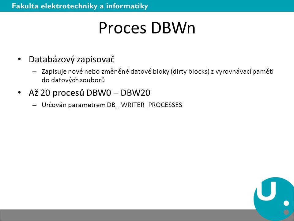 Proces DBWn Databázový zapisovač Až 20 procesů DBW0 – DBW20