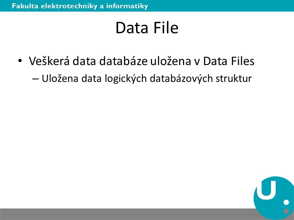 Data File Veškerá data databáze uložena v Data Files