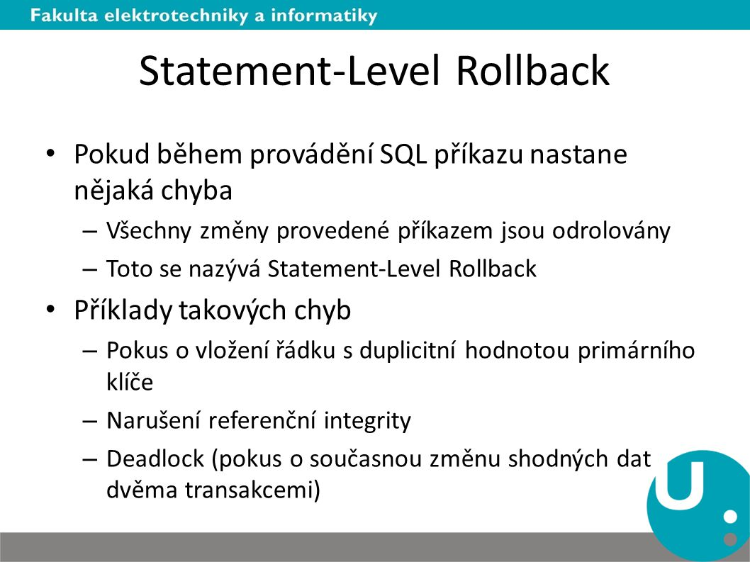 Statement-Level Rollback