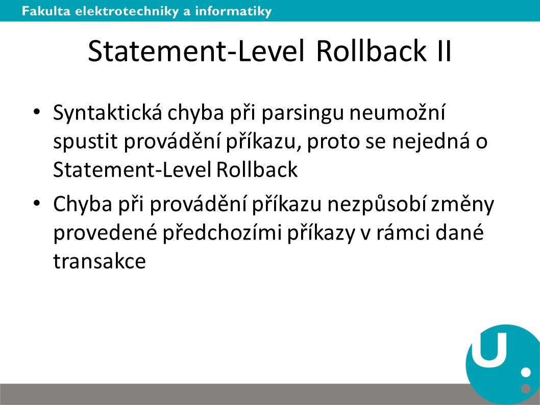 Statement-Level Rollback II