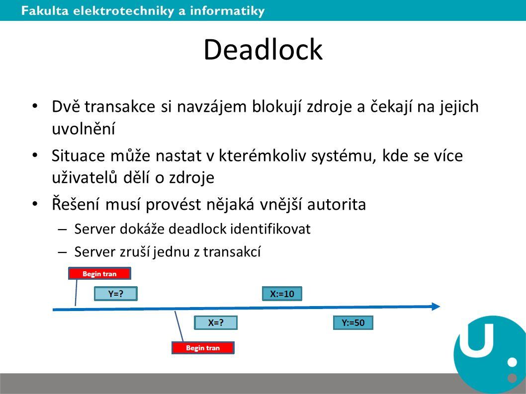 Deadlock Dvě transakce si navzájem blokují zdroje a čekají na jejich uvolnění.