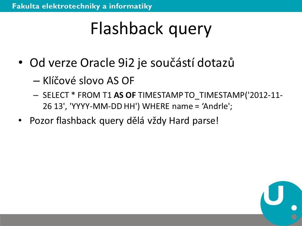 Flashback query Od verze Oracle 9i2 je součástí dotazů