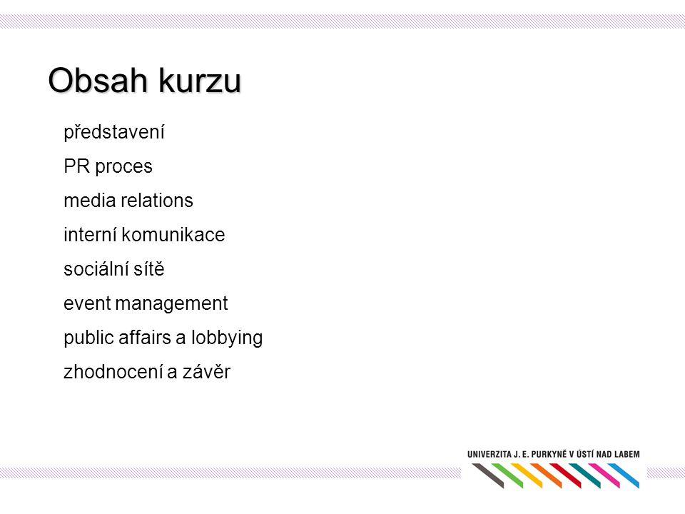 Obsah kurzu představení PR proces media relations interní komunikace
