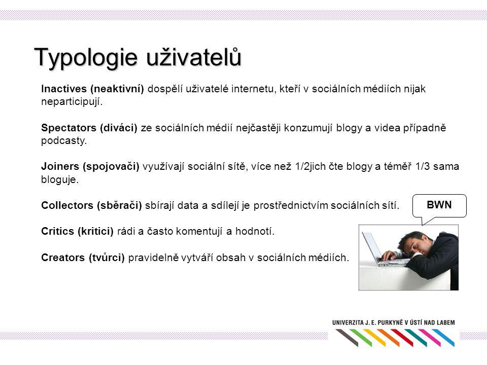 Typologie uživatelů Inactives (neaktivní) dospělí uživatelé internetu, kteří v sociálních médiích nijak neparticipují.