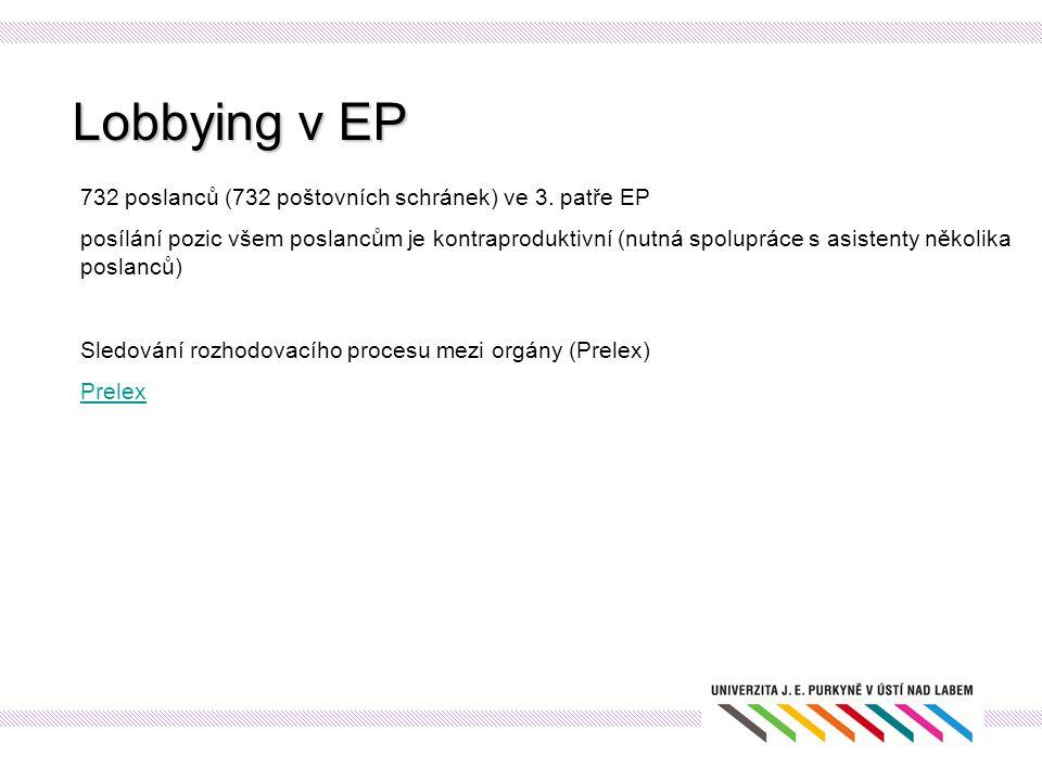 Lobbying v EP 732 poslanců (732 poštovních schránek) ve 3. patře EP