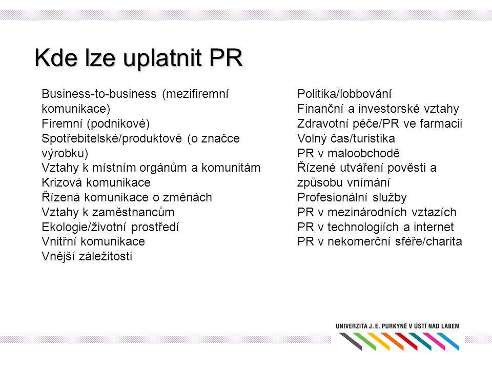 Kde lze uplatnit PR Business-to-business (mezifiremní komunikace)