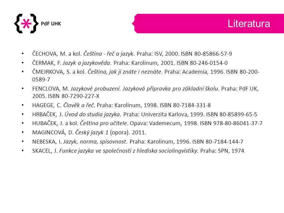 Literatura ČECHOVA, M. a kol. Čeština - řeč a jazyk. Praha: ISV, 2000. ISBN 80-85866-57-9.