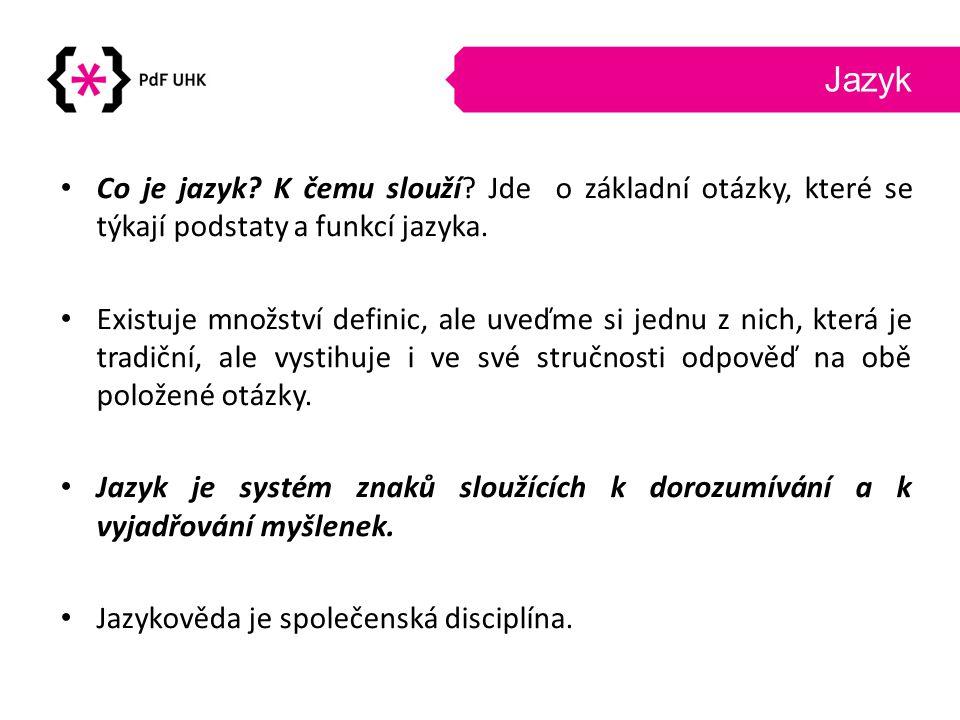 Jazyk Co je jazyk K čemu slouží Jde o základní otázky, které se týkají podstaty a funkcí jazyka.
