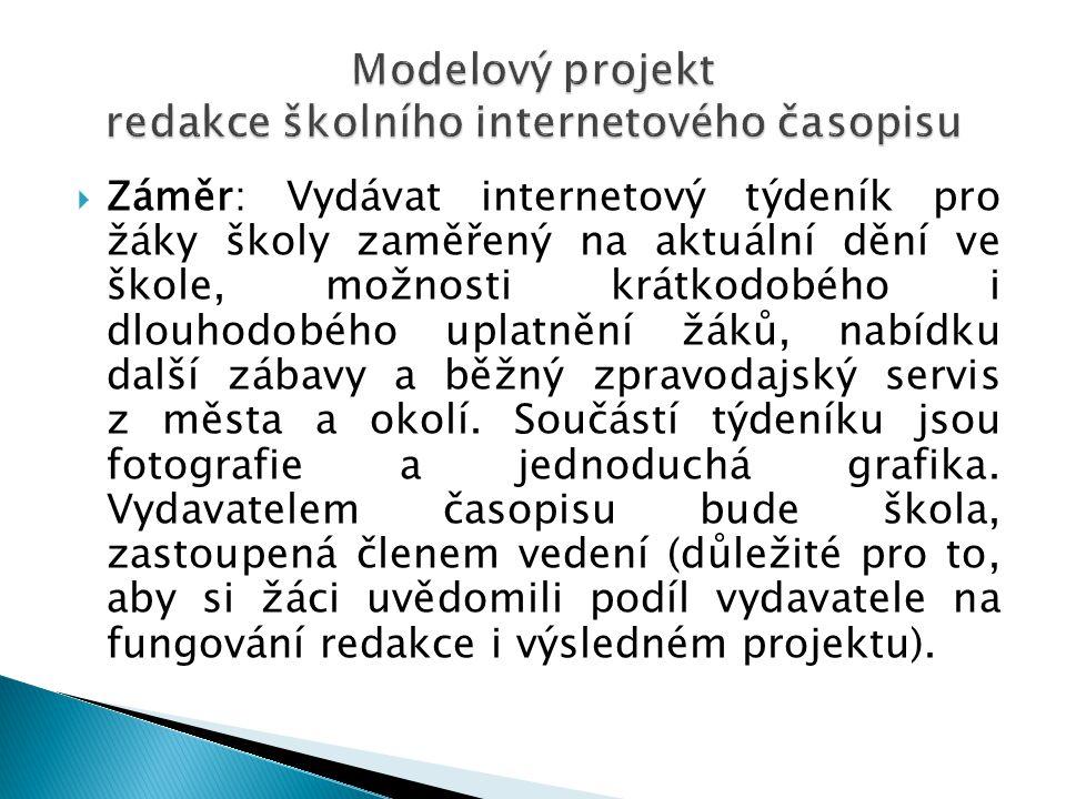 Modelový projekt redakce školního internetového časopisu