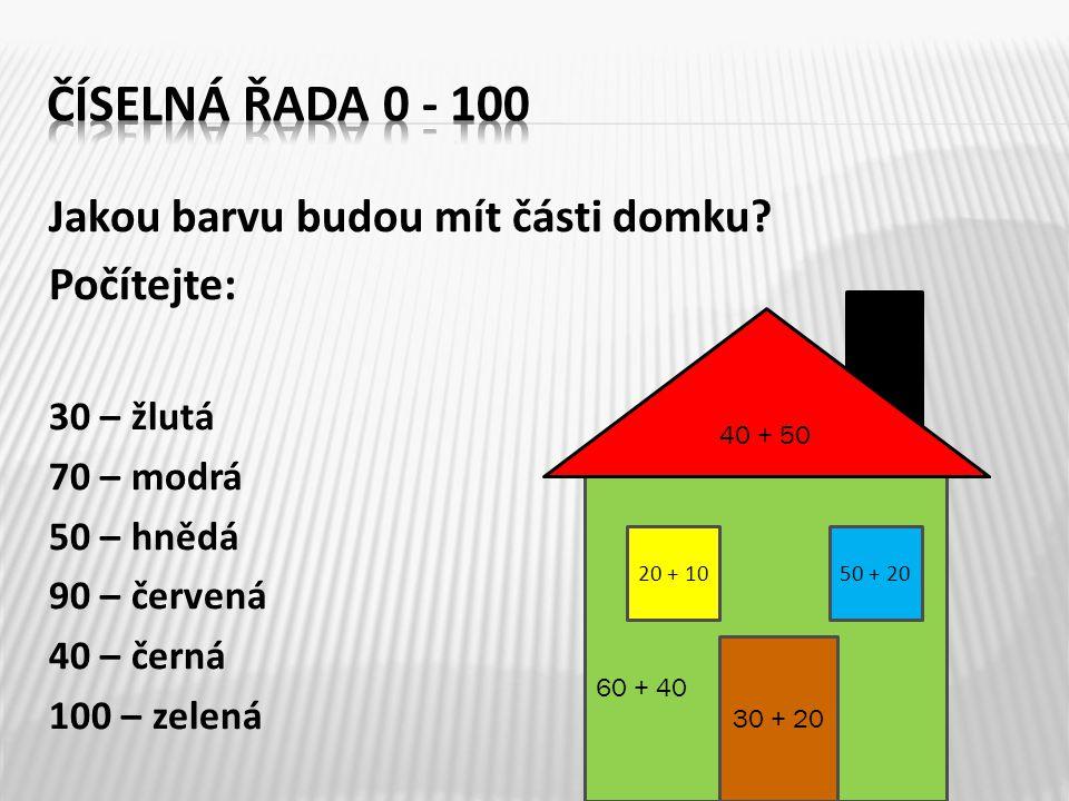 Číselná řada 0 - 100 Jakou barvu budou mít části domku Počítejte: