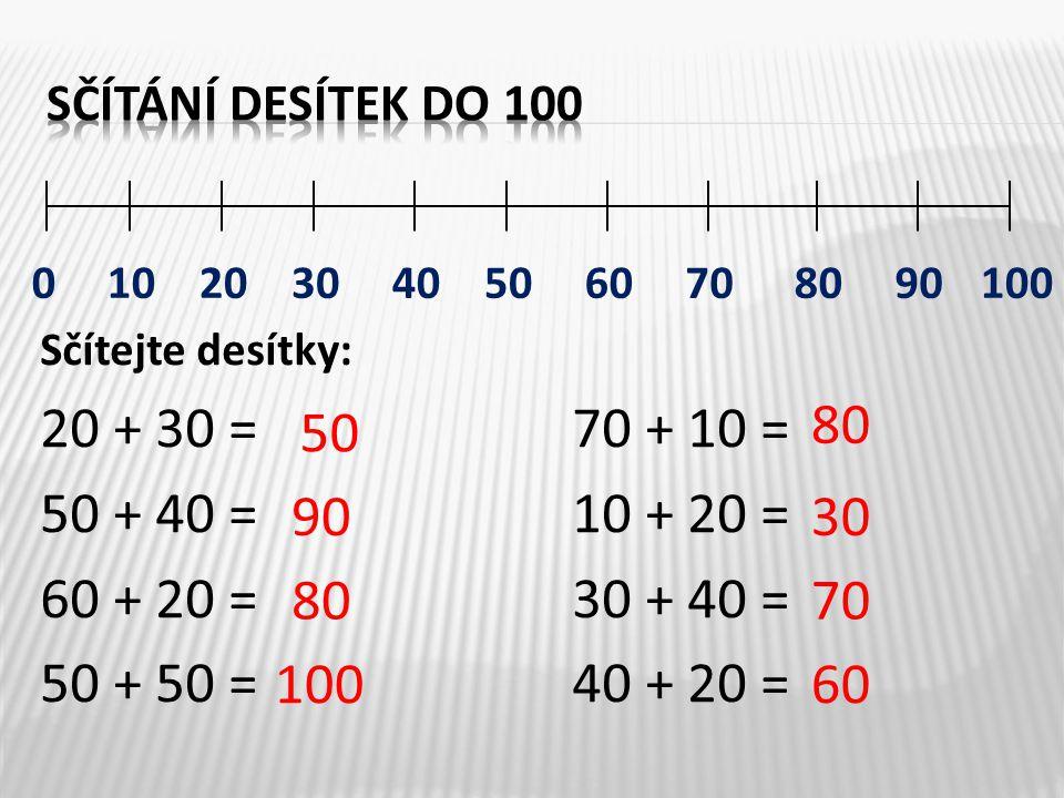 Sčítání desítek do 100 Sčítejte desítky: 20 + 30 = 70 + 10 = 50 + 40 = 10 + 20 = 60 + 20 = 30 + 40 =