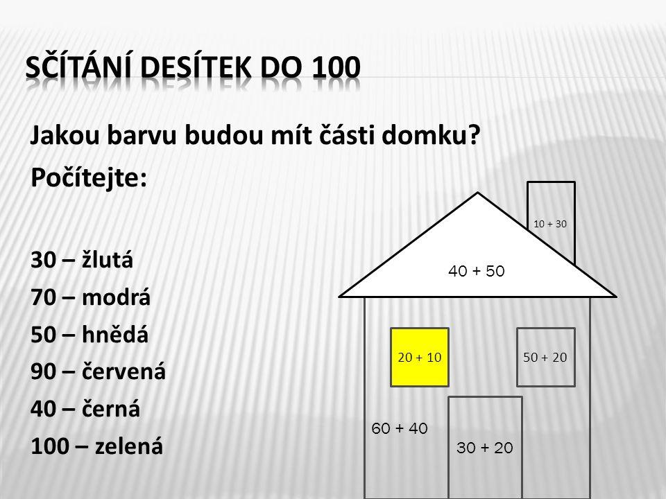 Sčítání desítek do 100 Jakou barvu budou mít části domku Počítejte: