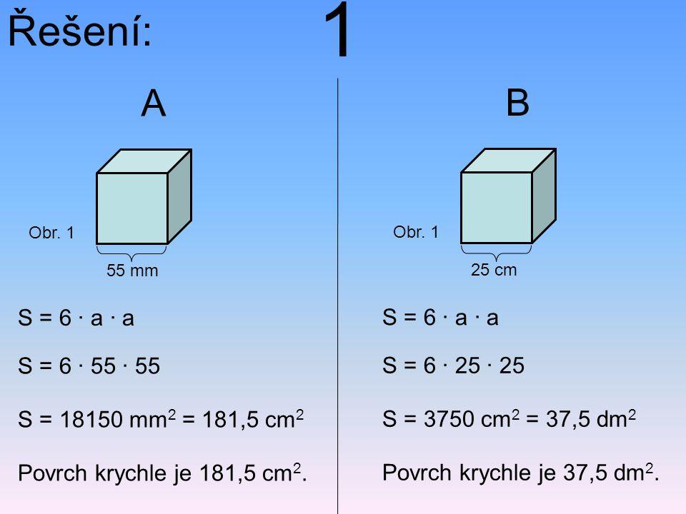 1 Řešení: A B S = 6 · a · a S = 6 · a · a S = 6 · 55 · 55