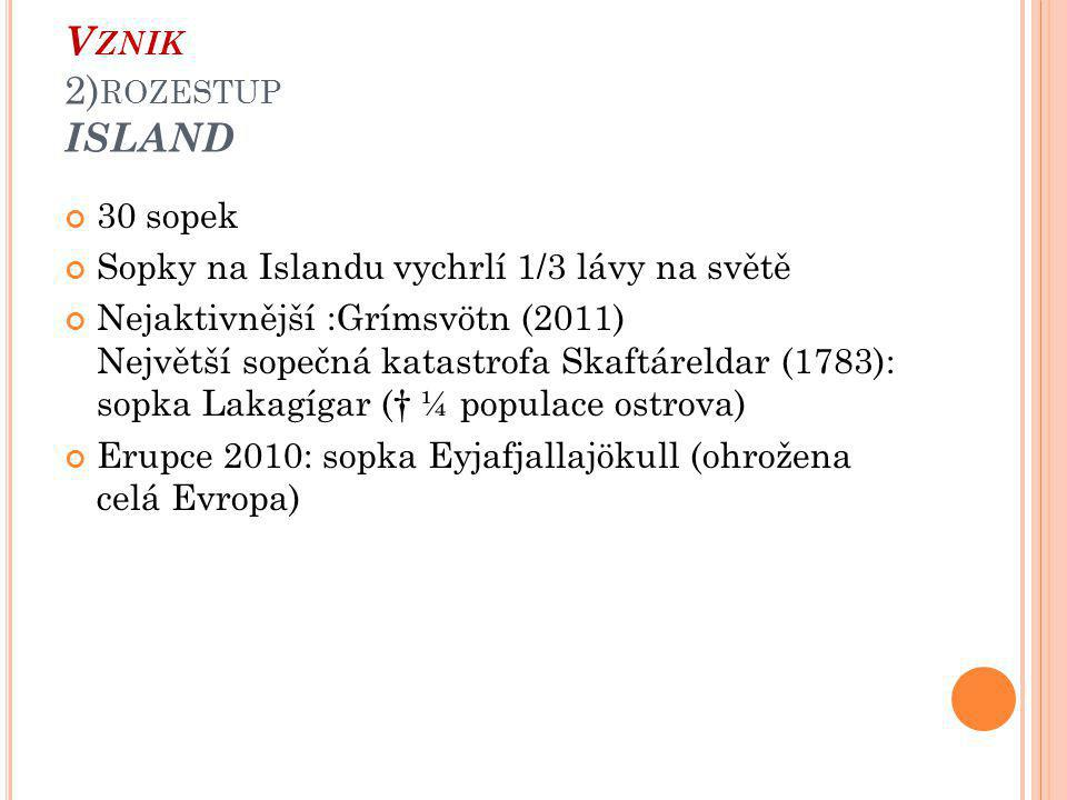 Vznik 2)rozestup ISLAND