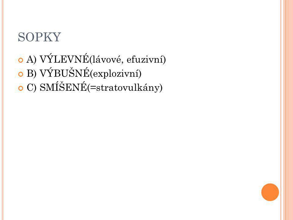 SOPKY A) VÝLEVNÉ(lávové, efuzivní) B) VÝBUŠNÉ(explozivní)