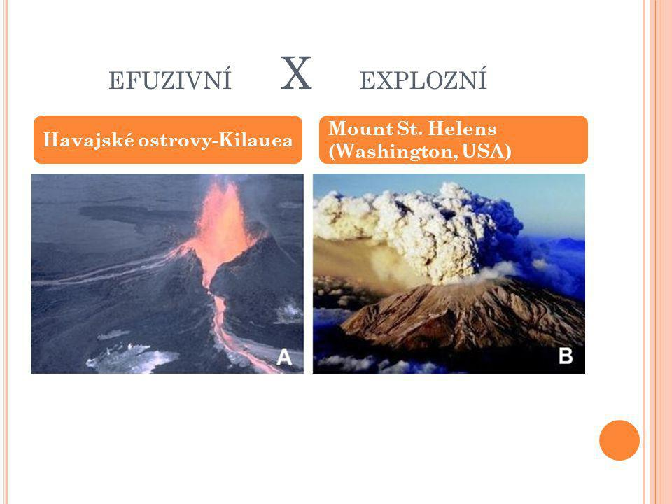 efuzivní x explozní Mount St. Helens (Washington, USA)
