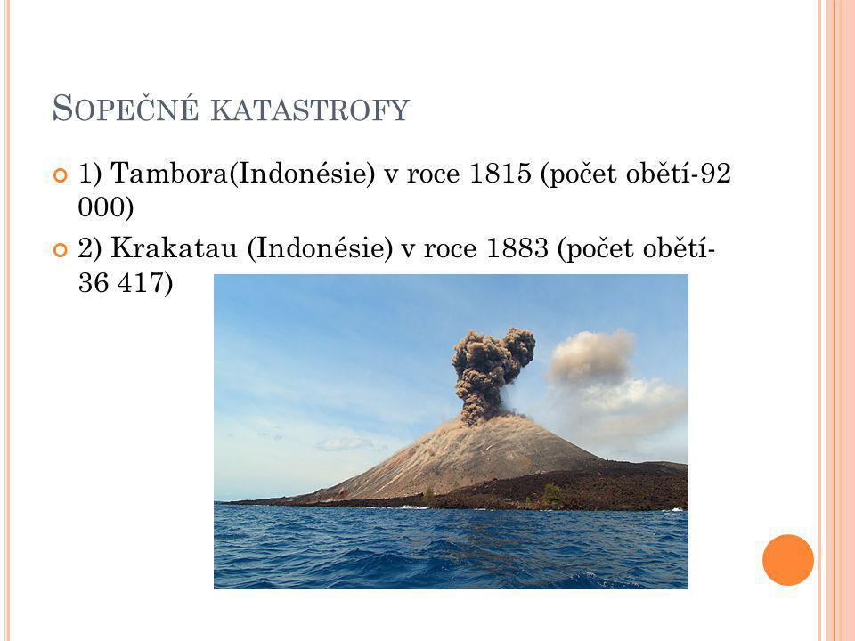 Sopečné katastrofy 1) Tambora(Indonésie) v roce 1815 (počet obětí-92 000) 2) Krakatau (Indonésie) v roce 1883 (počet obětí- 36 417)