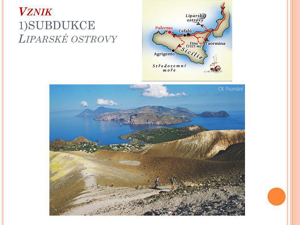 Vznik 1)SUBDUKCE Liparské ostrovy